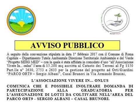 """PARCO ORT9 """"Sergio Albani"""" – pubblicato l'AVVISO PUBBLICO per l'assegnazione di lotti da coltivare"""