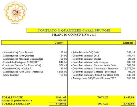 Approvato il bilancio 2017 del nostro Comitato