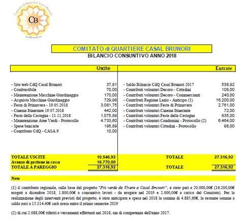 Approvato il bilancio 2018 del nostro Comitato