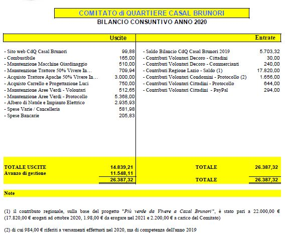 Approvato il bilancio 2020 del nostro Comitato